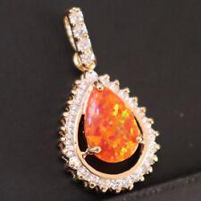Vintage Pear Fire Opal CZ Halo Dangle Pendant Women Jewelry 14K Rose Gold Plated