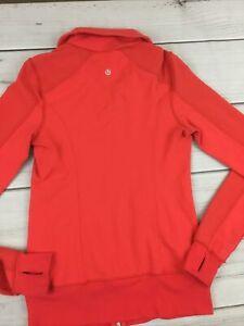 Lululemon Forme Jacket Sweater Full Zip Up Orange Yoga Run Thumb Holes & Pockets