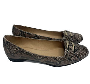Hush Puppies Leather Brown Snake Skin Slip On Flats Shoes Size EUR 37 AU 7