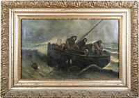 H.B. JONES Oil Painting of Fishermen in Dory, Late 19th Century - PICK UP ONLY