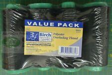 Birch 4 Pack Black Overlocker Thread 2000m Each Cone 100 Polyester