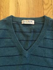 J. CREW Men's Sweater Vest / Cotton Cashmere / Medium / Blue Green Navy Stripe