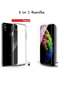 Google Pixel 4/4 XL Clear Case+Tempered Glass Screen Protector Bundle