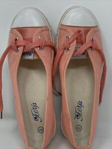 Teerfa Women's Canvas Slip On Shoe Coral Pink Size 245 Rubber Sole See Desc