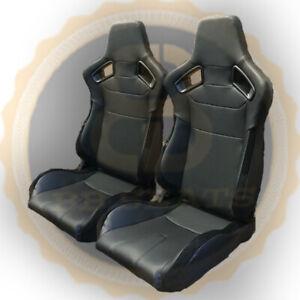 Pair BB6 RS Black Reclining Titling Bucket Sports Racing Seats Alcantara Sides