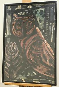 Fine Rare Color Print The Wise Owl By David Etengoff dated 1963