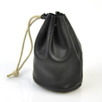 Women Genuine Leather Coin Bag Draw String Retro Change Purse Bucket Lady Wallet