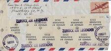 1947 British Censored/Returned Airmail Cover -Brooklyn NY to Germany (Scott C28)