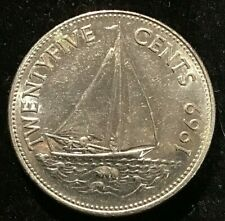 1969 25 Cents Bahama Islands Extremely Fine