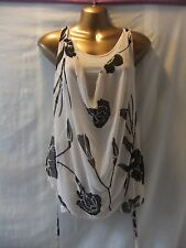 LADIES New Look 10 LATTE CHIFFON/SEQUINS+BEADS/STRAPPY/STRETCH/VEST PARTY TOP