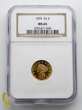 1894 $2.50 Quarter Eagle Liberty Head Gold Coin Graded by NGC as MS-65
