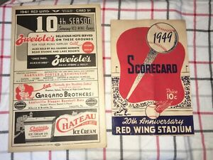 1941& 1949 Rochester Redwings Scorecard Minor League Team