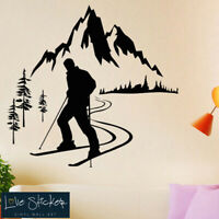 Wall Stickers Ski Skier Sports Mountain Snow Art Decals Vinyl Home Room Decor
