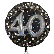 Large 40th Birthday Foil Balloon Black Silver Gold Party Decoration 3D effect