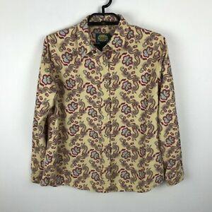 Cabela Flannel Blouse Shirt Womens Size L Multicolor Floral Long Sleeve Snaps