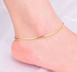 Women Girl Titanium Stainless Steel Gold Herringbone Chain Anklet Bracelet 8-10""