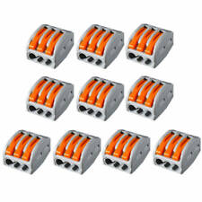 10x 3 Way Reusable Spring Lever Clamp Terminal Block Electric Connector Wire Set
