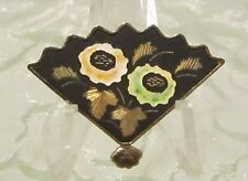 Folding Fan Brooch Fashion 5548B Silvertone Various Enamel Colors Floral
