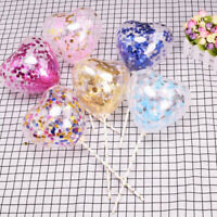 3Pcs Sequins Heart Balloon Cake Topper Baby Shower for Birthday Wedding Confetti