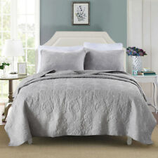100% Cotton Coverlet / Bedspread Set King & Super King Size Bed 250x270cm Grey