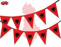 Albania Full Flag Patriotic Themed Bunting Banner 15 Triangle flags National