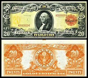 Reproduction1905  $20 GOLD CERTIFICATE US Banknote, Large size, Crazy colors