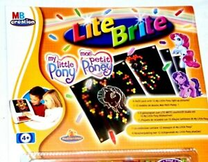 MY LITTLE PONY LITE BRITE REFILL PACK MB CREATION 100+ PEGS 12 STENCIL SHEETS