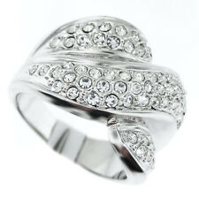 Ladies Crystal Wave Wide Silver Rhodium Plated Ring Size 8