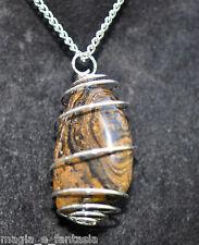Collana con STROMATOLE cristalloterapia zen pietre mineral chakra argento spiral
