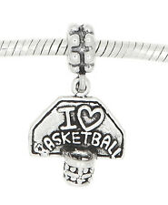 Sterling Silver I Love Basketball With Hoop Dangling European Bead