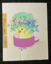 """EASTER Yellow Chick w/ Hat & Flowers 4.25x6"""" Greeting Card Art #2432"""