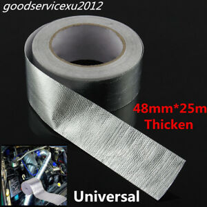 25m DIY Car Aluminum Reinforced Heat Shield Tape Adhesive Backed Resistant Wrap