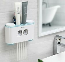 Automatic Squeezing Toothpaste Dispenser Bathroom Wall Mount Toothbrush Holder