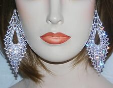 SILVER / CLEAR RHINESTONE CRYSTAL CHANDELIER BRIDAL PARTY EARRINGS