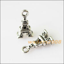 12 New Tiny Eiffel Tower Tibetan Silver Tone Charms Pendants 8.5x15.5mm