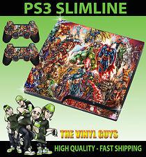 PLAYSTATION PS3 SLIM STICKER MARVEL DC ACTION HERO SUPERHEROES SKIN & 2 PAD SKIN