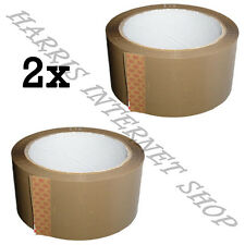 2 ROLLS OF BROWN BUFF PARCEL PACKING TAPE OF 48mm x 66M STRONG PACKING ADHESIVE