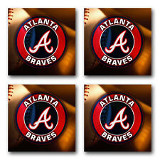 Atlanta Braves Baseball Rubber Square Coaster set (4 pack) SRC2001