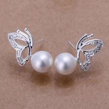 Damen Ohrring Herz Ohrstecker Ohrringe Perle weiß pl. mit Sterlingsilber DO017-2