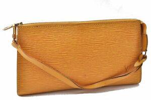Authentic Louis Vuitton Epi Pochette Accessoires Pouch Yellow LV A9623