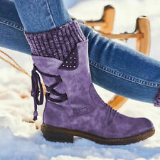 Womens Low Heels Lace Up Mid Calf Boots Ladies Biker Riding Winter Warm Shoes SZ