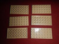 LEGO Parts ~ 3035 (6) Flat Plate 4 x 8 ~ TAN