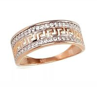 585 /14ct Russian Rose Gold Greek Style Ring Size O 1/2 Eur 17