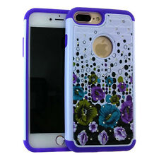 For iPhone 7+ Plus - HYBRID HARD & SOFT DIAMOND BLING CASE COVER PURPLE FLOWERS