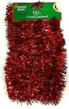 """New Listing Holiday Style Red Tinsel Garland 2"""" X 15 foot"""