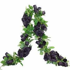 Etistta 2 PCS 6.5 Ft. Artificial Black Rose Vine for Halloween Decor, Hanging Bl