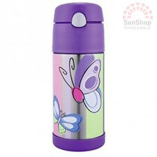 THERMOS Funtainer S/S 355ml Vacuum Insulated Beverage Bottle Purple Butterfly!