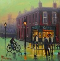 Cycling to the Corner Cafe Original BEST Oil Painting Famous Artist James Downie