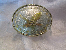 Eagle Belt Buckle - Silver With Gold Eagle & Trim