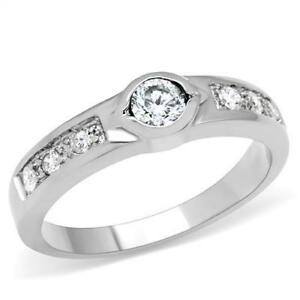 Women's Stainless Steel CZ Ring Size 5-10 Engagement Ring Band Wedding 200